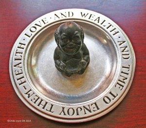 Laughing Buddha - pewter/stone 9 1/2