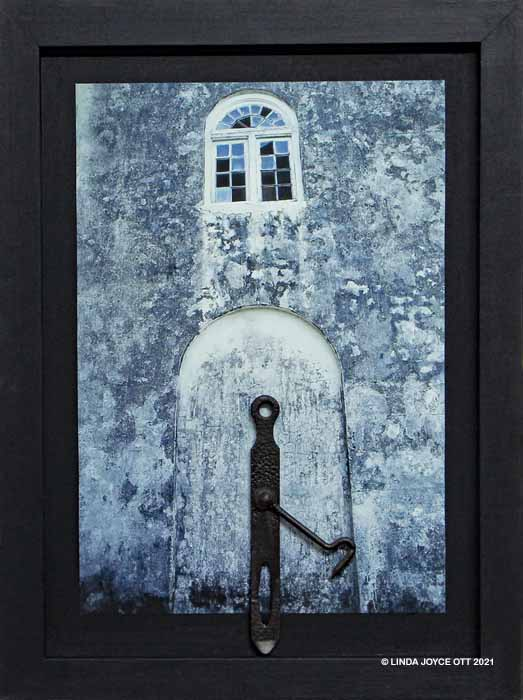 Portal mixed media assemblage by Linda Joyce Ott features vintage hook and photo