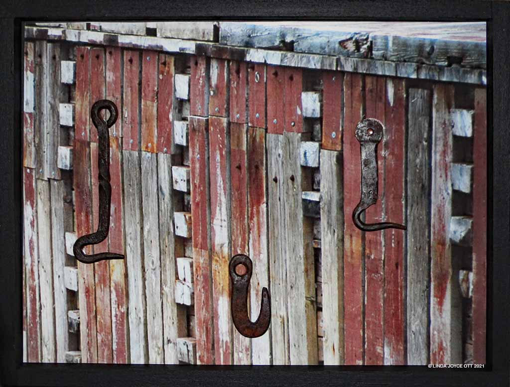 3 hooks at Hall's Harbour, Nova Scotia mixed media assemblage by Linda Joyce Ott features three vintage hooks on wharf photo