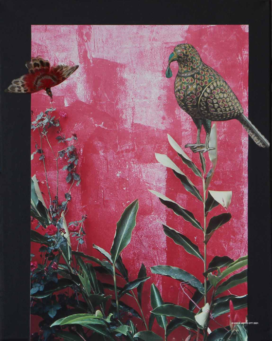 Birds of Play mixed media collage by Linda Joyce Ott features photos and vintage feathered bird pin