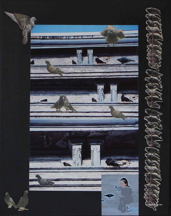 Rookery photo collage by Linda Joyce Ott features pigeons